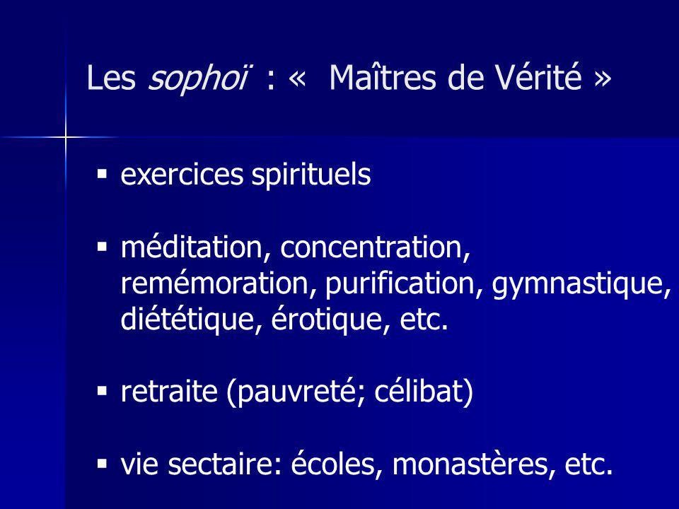 exercices spirituels méditation, concentration, remémoration, purification, gymnastique, diététique, érotique, etc.