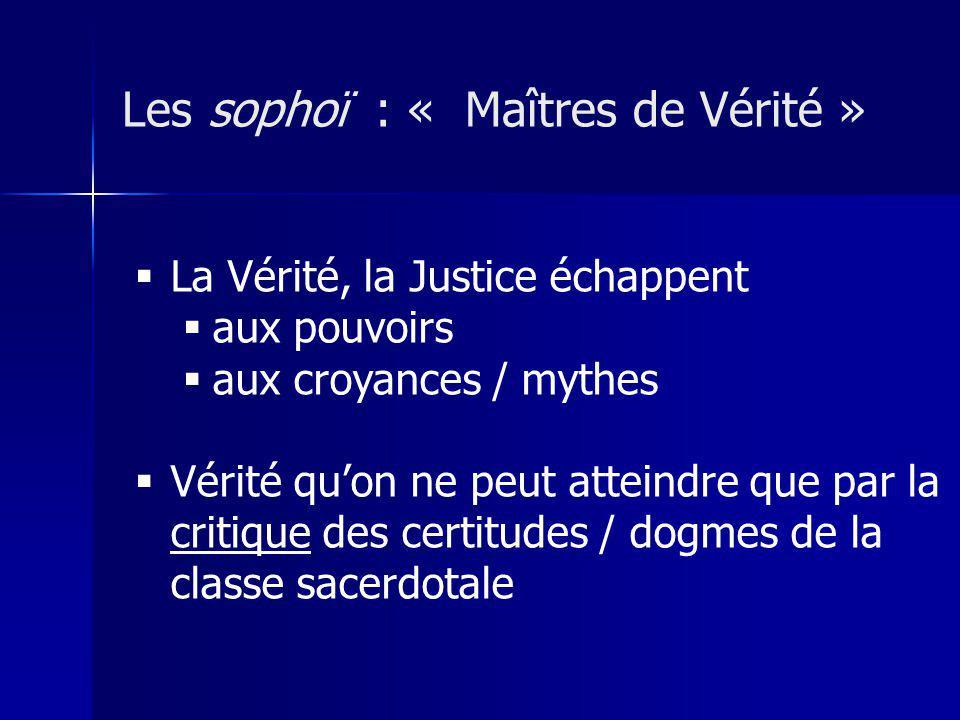 Les sophoï : « Maîtres de Vérité » La Vérité, la Justice échappent aux pouvoirs aux croyances / mythes Vérité quon ne peut atteindre que par la critique des certitudes / dogmes de la classe sacerdotale