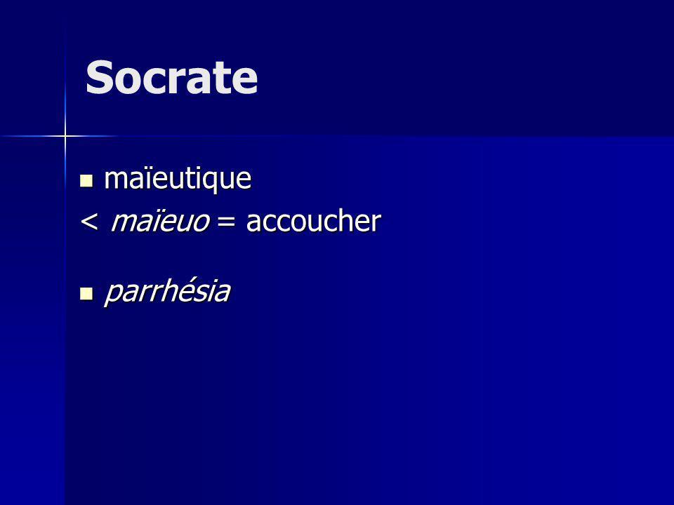 Socrate maïeutique maïeutique < maïeuo = accoucher parrhésia parrhésia