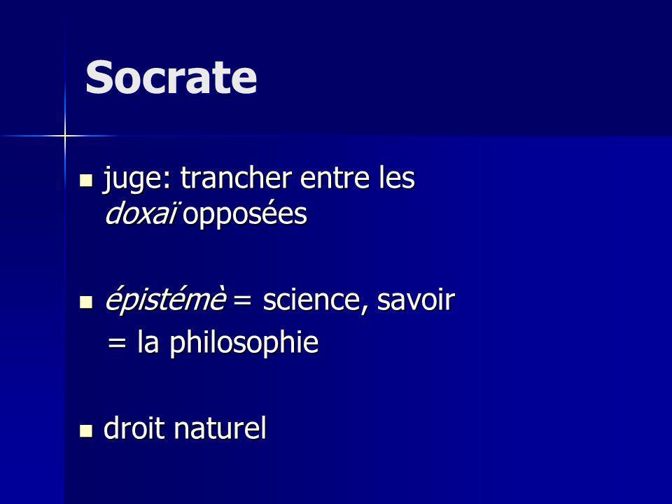 Socrate juge: trancher entre les doxaï opposées juge: trancher entre les doxaï opposées épistémè = science, savoir épistémè = science, savoir = la philosophie = la philosophie droit naturel droit naturel