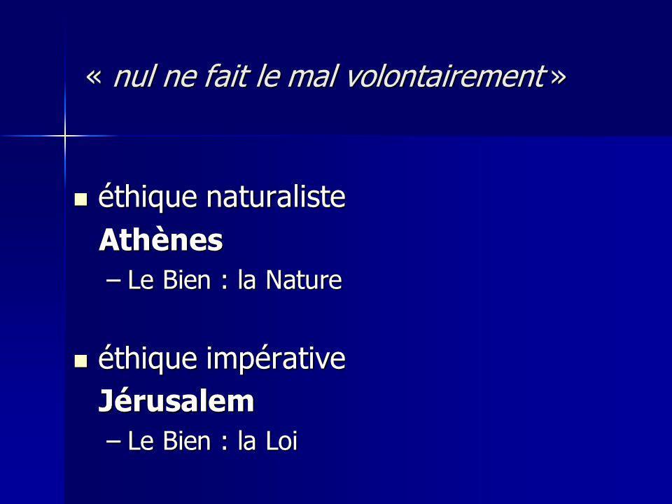 éthique naturaliste éthique naturaliste Athènes Athènes –Le Bien : la Nature éthique impérative éthique impérative Jérusalem Jérusalem –Le Bien : la Loi « nul ne fait le mal volontairement »