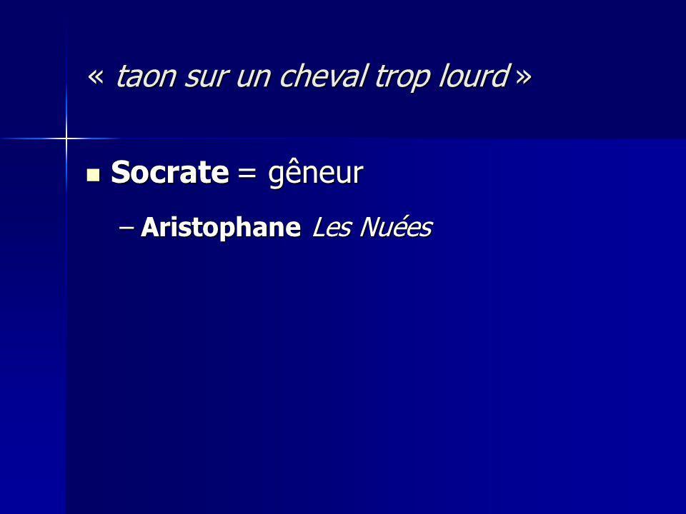 Socrate = gêneur Socrate = gêneur –Aristophane Les Nuées « taon sur un cheval trop lourd »