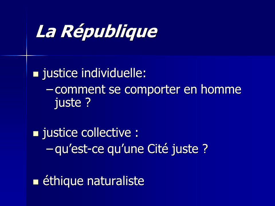 La République justice individuelle: justice individuelle: –comment se comporter en homme juste .