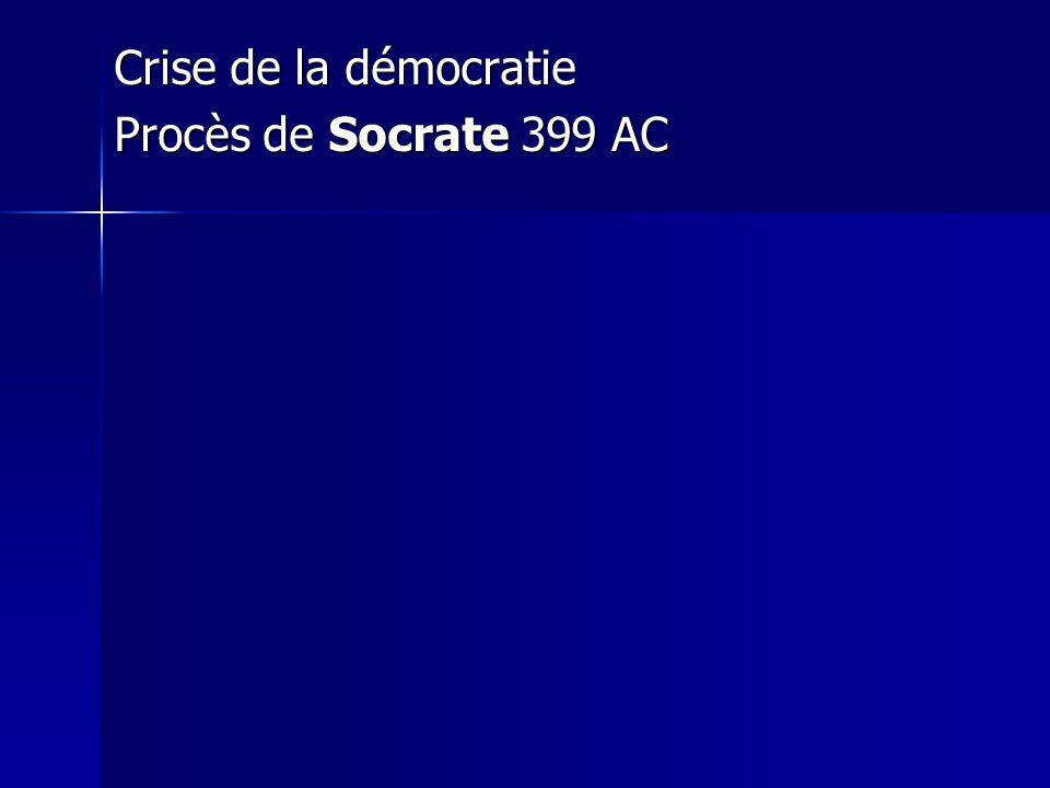 Crise de la démocratie Procès de Socrate 399 AC