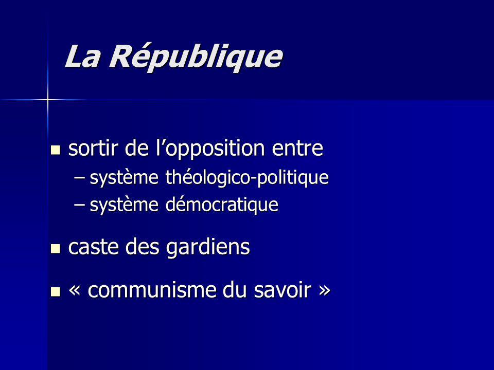 sortir de lopposition entre sortir de lopposition entre –système théologico-politique –système démocratique caste des gardiens caste des gardiens « communisme du savoir » « communisme du savoir » La République