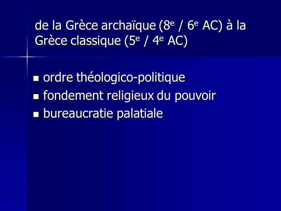 de la Grèce archaïque (8 e / 6 e AC) à la Grèce classique (5 e / 4 e AC) ordre théologico-politique ordre théologico-politique fondement religieux du pouvoir fondement religieux du pouvoir bureaucratie palatiale bureaucratie palatiale