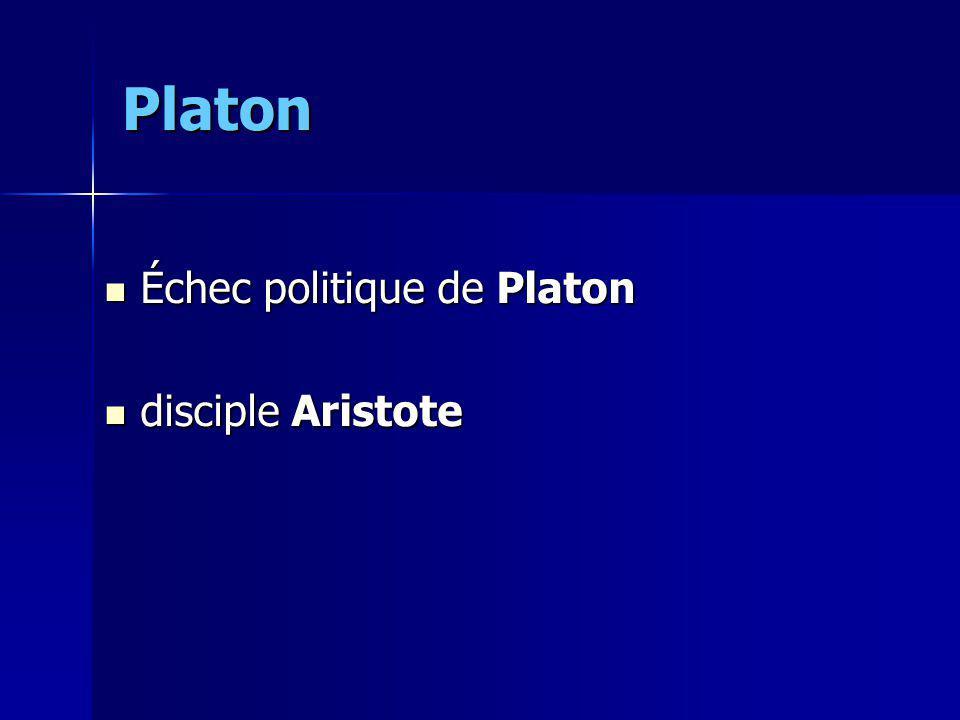 Platon Échec politique de Platon Échec politique de Platon disciple Aristote disciple Aristote