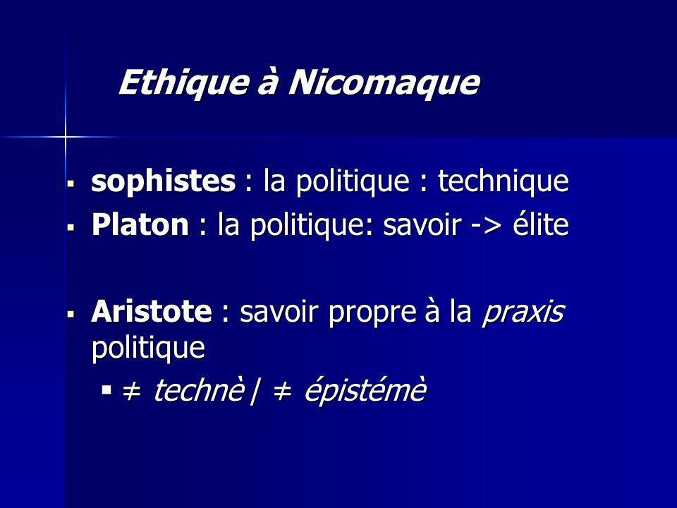 sophistes : la politique : technique sophistes : la politique : technique Platon : la politique: savoir -> élite Platon : la politique: savoir -> élite Aristote : savoir propre à la praxis politique Aristote : savoir propre à la praxis politique technè / épistémè technè / épistémè Ethique à Nicomaque