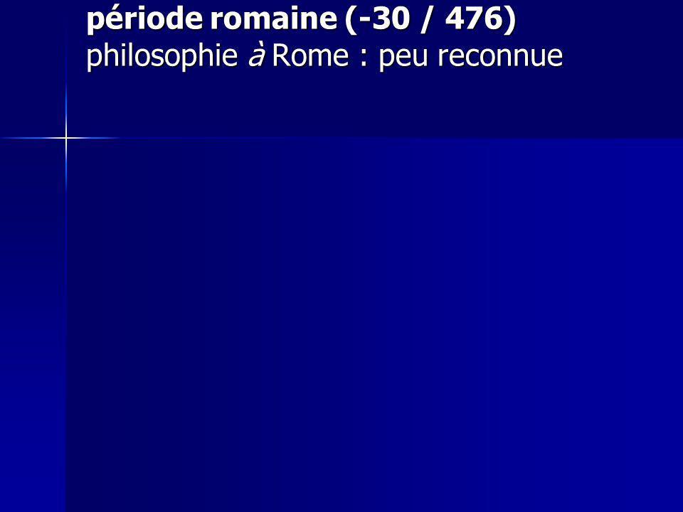 période romaine (-30 / 476) philosophie à Rome : peu reconnue