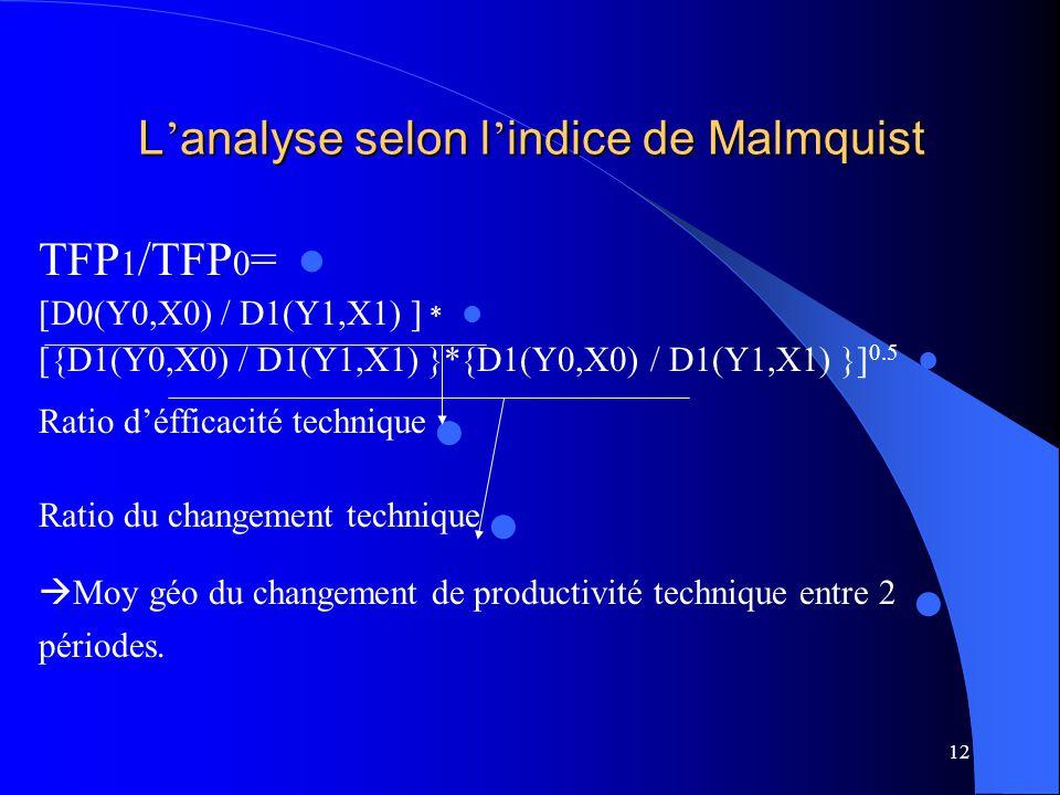 12 L analyse selon l indice de Malmquist TFP 1 /TFP 0 = [D0(Y0,X0) / D1(Y1,X1) ] * [{D1(Y0,X0) / D1(Y1,X1) }*{D1(Y0,X0) / D1(Y1,X1) }] 0.5 Ratio défficacité technique Ratio du changement technique Moy géo du changement de productivité technique entre 2 périodes.