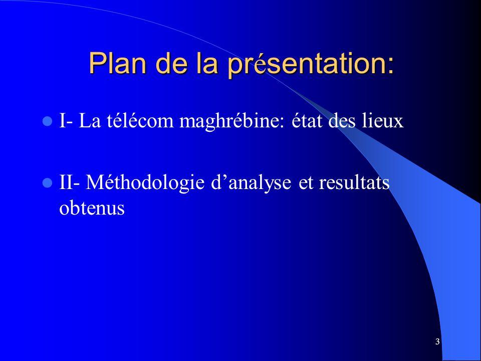 3 Plan de la pr é sentation: I- La télécom maghrébine: état des lieux II- Méthodologie danalyse et resultats obtenus