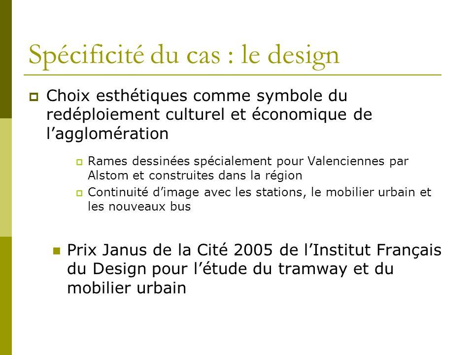 Spécificité du cas : le design Choix esthétiques comme symbole du redéploiement culturel et économique de lagglomération Rames dessinées spécialement