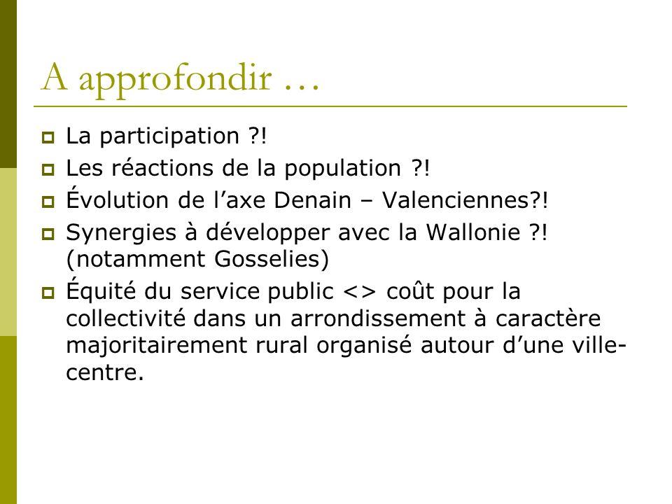 A approfondir … La participation ?! Les réactions de la population ?! Évolution de laxe Denain – Valenciennes?! Synergies à développer avec la Walloni