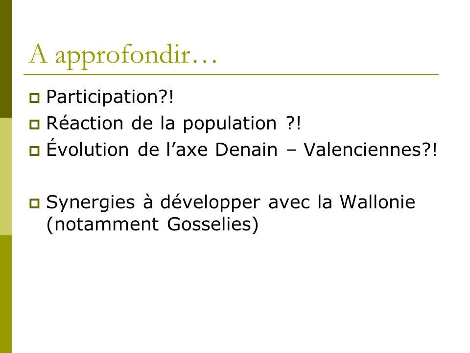 A approfondir… Participation?! Réaction de la population ?! Évolution de laxe Denain – Valenciennes?! Synergies à développer avec la Wallonie (notamme