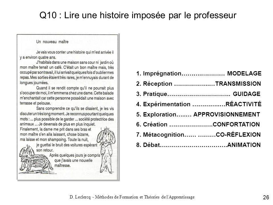 D. Leclercq - Méthodes de Formation et Théories de l'Apprentissage 26 Q10 : Lire une histoire imposée par le professeur 1. Imprégnation……….………… MODELA