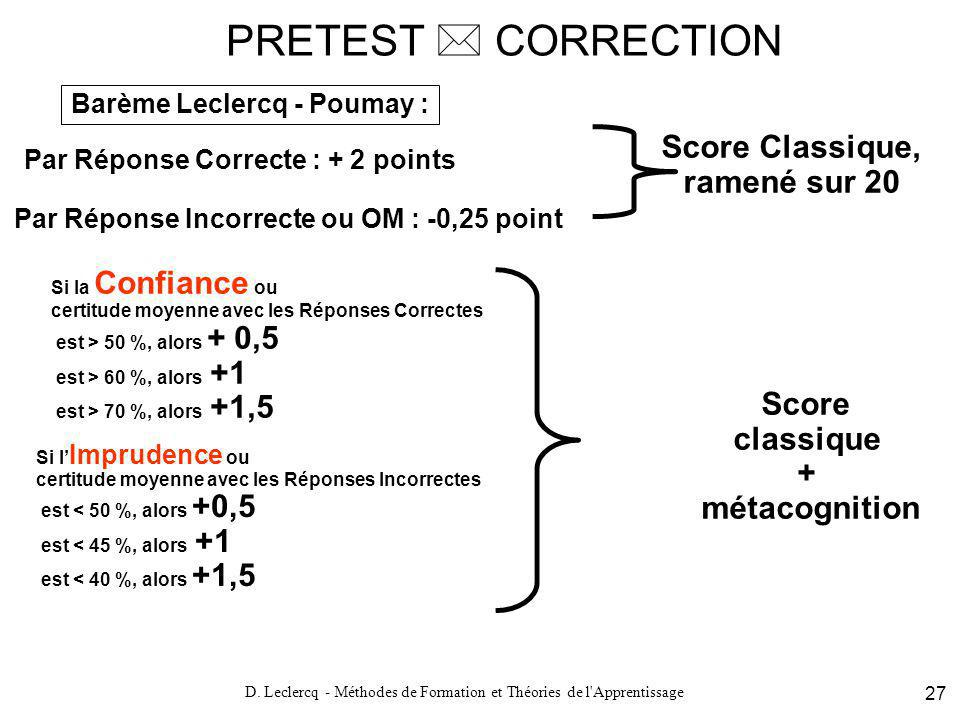 D. Leclercq - Méthodes de Formation et Théories de l'Apprentissage 27 PRETEST CORRECTION Par Réponse Correcte : + 2 points Barème Leclercq - Poumay :