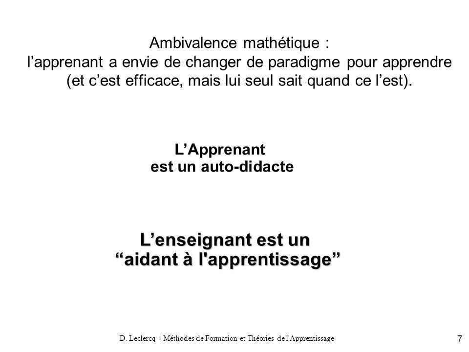 D. Leclercq - Méthodes de Formation et Théories de l'Apprentissage 7 Ambivalence mathétique : lapprenant a envie de changer de paradigme pour apprendr