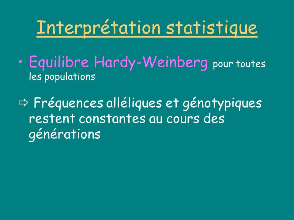 Interprétation statistique Equilibre Hardy-Weinberg pour toutes les populations Fréquences alléliques et génotypiques restent constantes au cours des générations