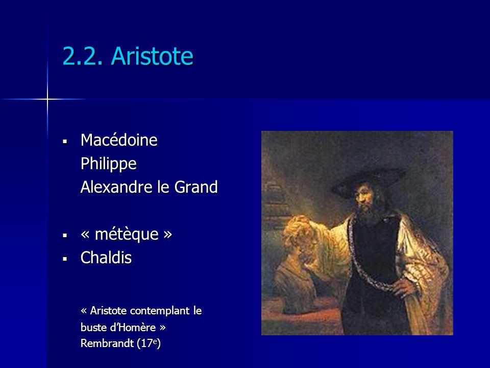 Macédoine MacédoinePhilippe Alexandre le Grand « métèque » « métèque » Chaldis Chaldis « Aristote contemplant le buste dHomère » Rembrandt (17 e )