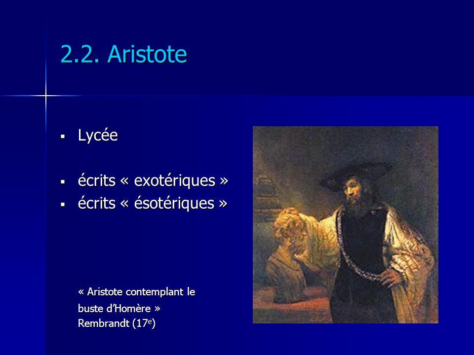 2.2. Aristote Lycée Lycée écrits « exotériques » écrits « exotériques » écrits « ésotériques » écrits « ésotériques » « Aristote contemplant le buste
