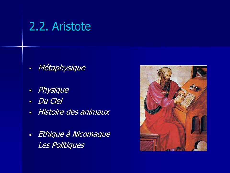 2.2. Aristote Métaphysique Métaphysique Physique Physique Du Ciel Du Ciel Histoire des animaux Histoire des animaux Ethique à Nicomaque Ethique à Nico