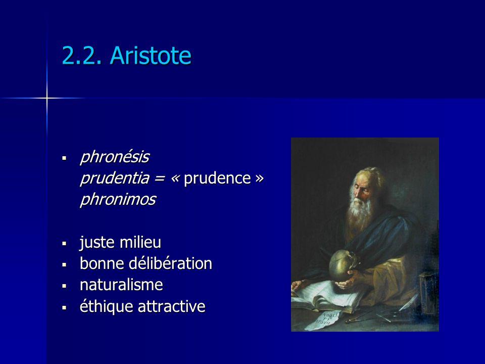 2.2. Aristote phronésis phronésis prudentia = « prudence » phronimos juste milieu juste milieu bonne délibération bonne délibération naturalisme natur