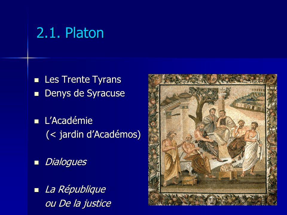 2.1. Platon Les Trente Tyrans Les Trente Tyrans Denys de Syracuse Denys de Syracuse LAcadémie LAcadémie (< jardin dAcadémos) (< jardin dAcadémos) Dial
