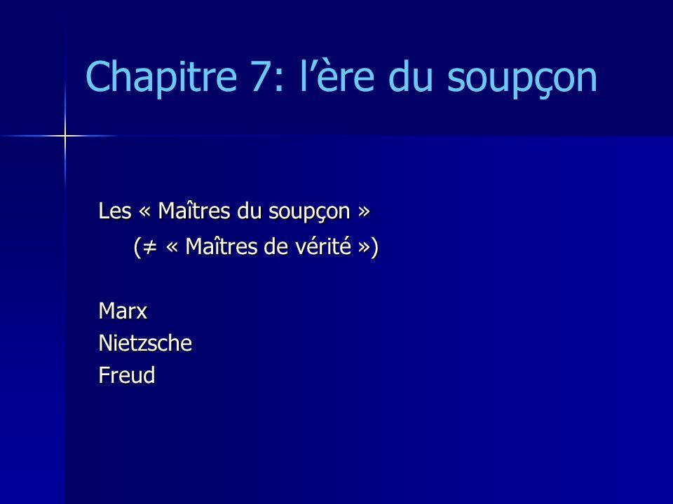 Chapitre 7: lère du soupçon Les « Maîtres du soupçon » ( « Maîtres de vérité ») ( « Maîtres de vérité »)MarxNietzscheFreud