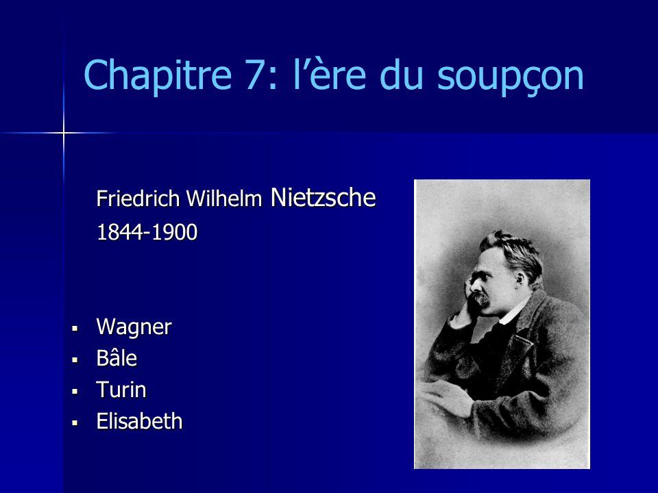 Chapitre 7: lère du soupçon Friedrich Wilhelm Nietzsche 1844-1900 Wagner Wagner Bâle Bâle Turin Turin Elisabeth Elisabeth