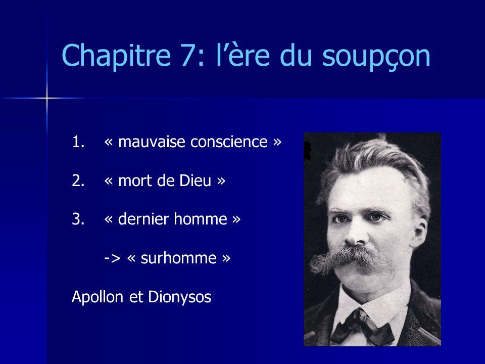 Chapitre 7: lère du soupçon 1. 1.« mauvaise conscience » 2. 2.« mort de Dieu » 3. 3.« dernier homme » -> « surhomme » Apollon et Dionysos