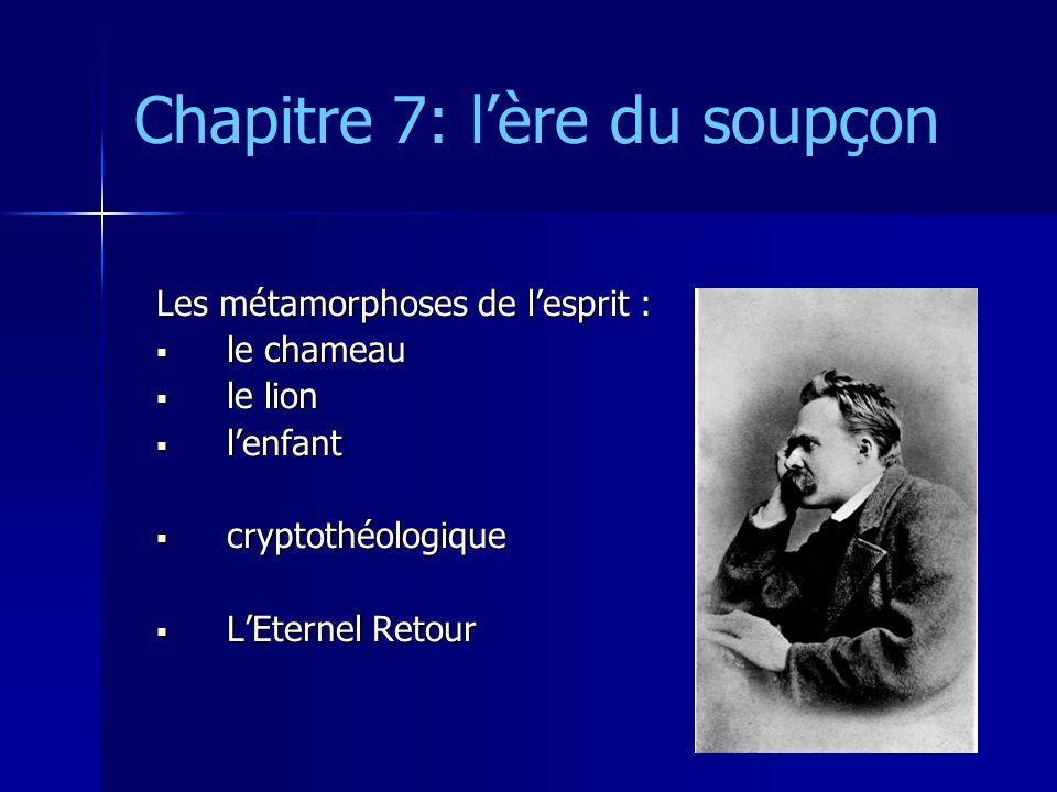 Chapitre 7: lère du soupçon Les métamorphoses de lesprit : le chameau le chameau le lion le lion lenfant lenfant cryptothéologique cryptothéologique L