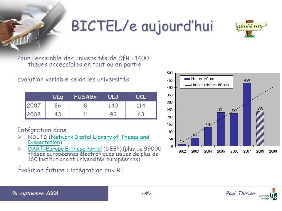 26 septembre 2008#Paul Thirion suite BICTEL/e aujourdhui Pour lensemble des universités de CfB : 1400 thèses accessibles en tout ou en partie Évolutio