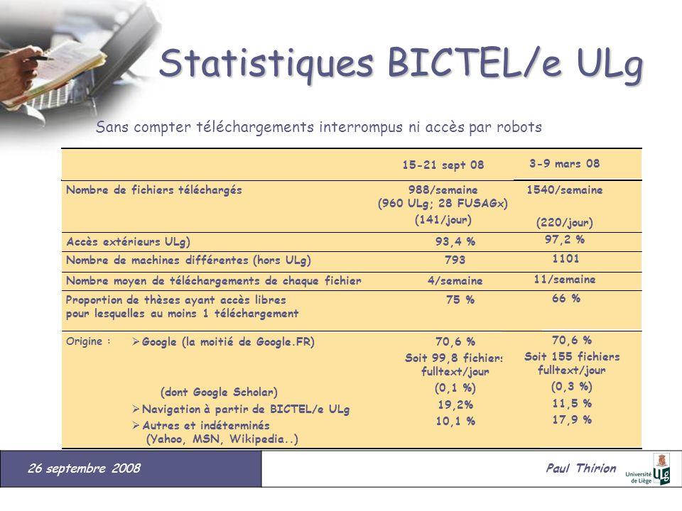 26 septembre 2008#Paul Thirion suite Statistiques BICTEL/e ULg Sans compter téléchargements interrompus ni accès par robots Origine : Proportion de th