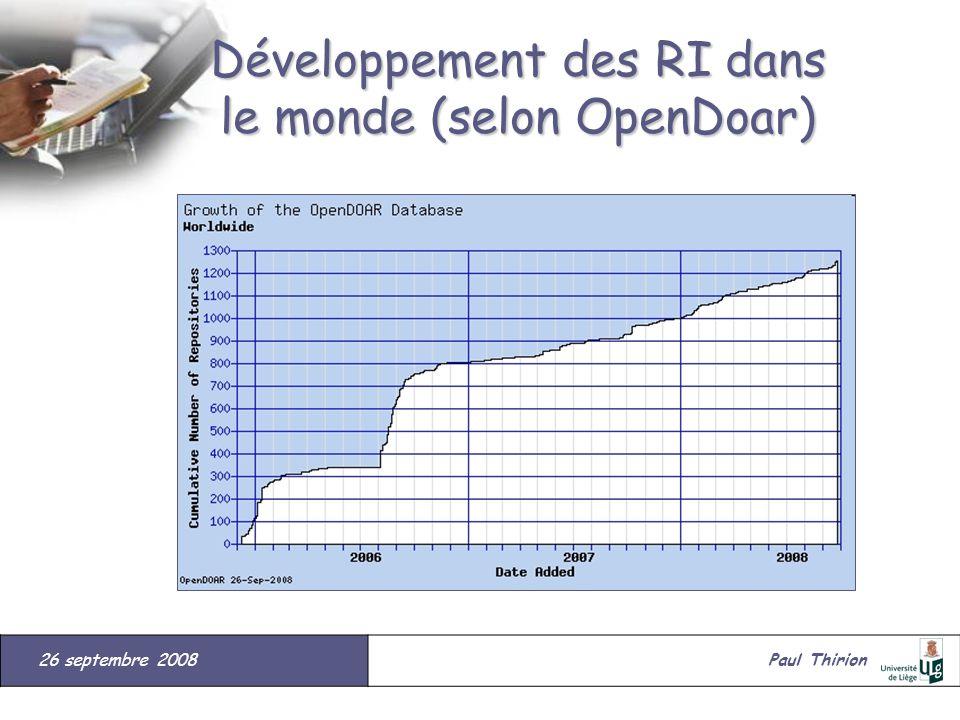 26 septembre 2008#Paul Thirion suite Développement des RI dans le monde (selon OpenDoar)