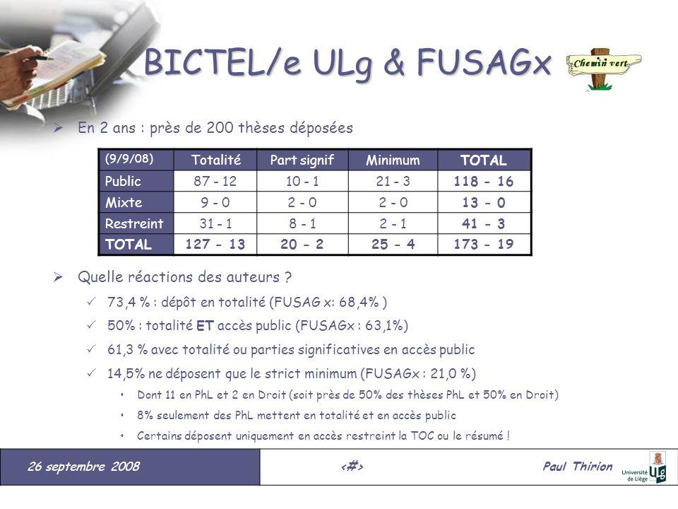 26 septembre 2008#Paul Thirion suite BICTEL/e ULg & FUSAGx En 2 ans : près de 200 thèses déposées Quelle réactions des auteurs ? 73,4 % : dépôt en tot