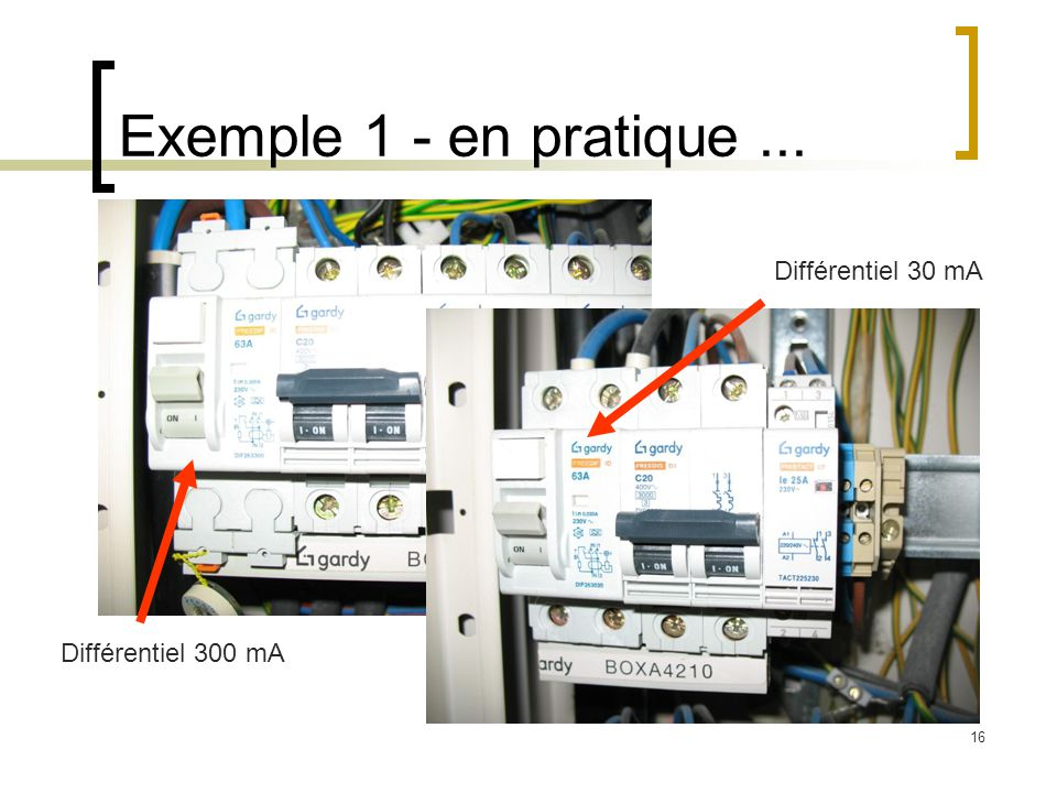 16 Exemple 1 - en pratique... Différentiel 30 mA Différentiel 300 mA