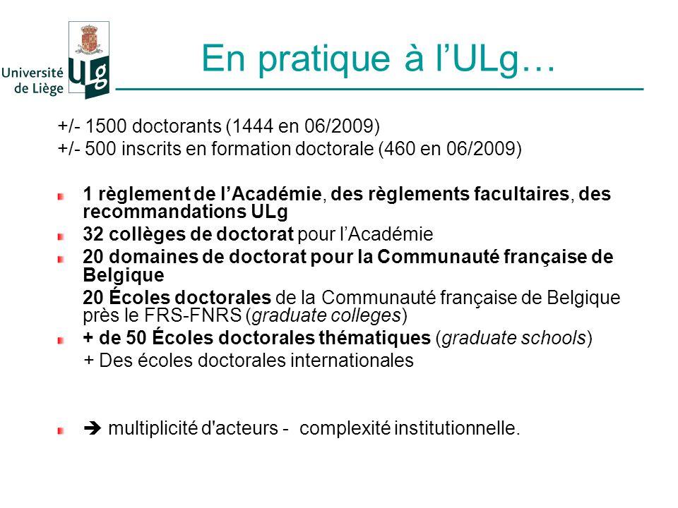 En pratique à lULg… +/- 1500 doctorants (1444 en 06/2009) +/- 500 inscrits en formation doctorale (460 en 06/2009) 1 règlement de lAcadémie, des règlements facultaires, des recommandations ULg 32 collèges de doctorat pour lAcadémie 20 domaines de doctorat pour la Communauté française de Belgique 20 Écoles doctorales de la Communauté française de Belgique près le FRS-FNRS (graduate colleges) + de 50 Écoles doctorales thématiques (graduate schools) + Des écoles doctorales internationales multiplicité d acteurs - complexité institutionnelle.