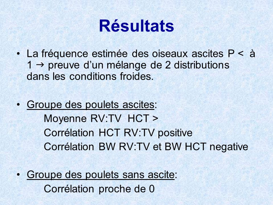 Résultats La fréquence estimée des oiseaux ascites P < à 1 preuve dun mélange de 2 distributions dans les conditions froides. Groupe des poulets ascit