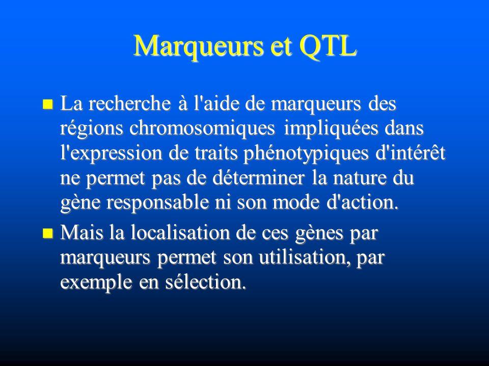 Marqueurs et QTL La recherche à l'aide de marqueurs des régions chromosomiques impliquées dans l'expression de traits phénotypiques d'intérêt ne perme