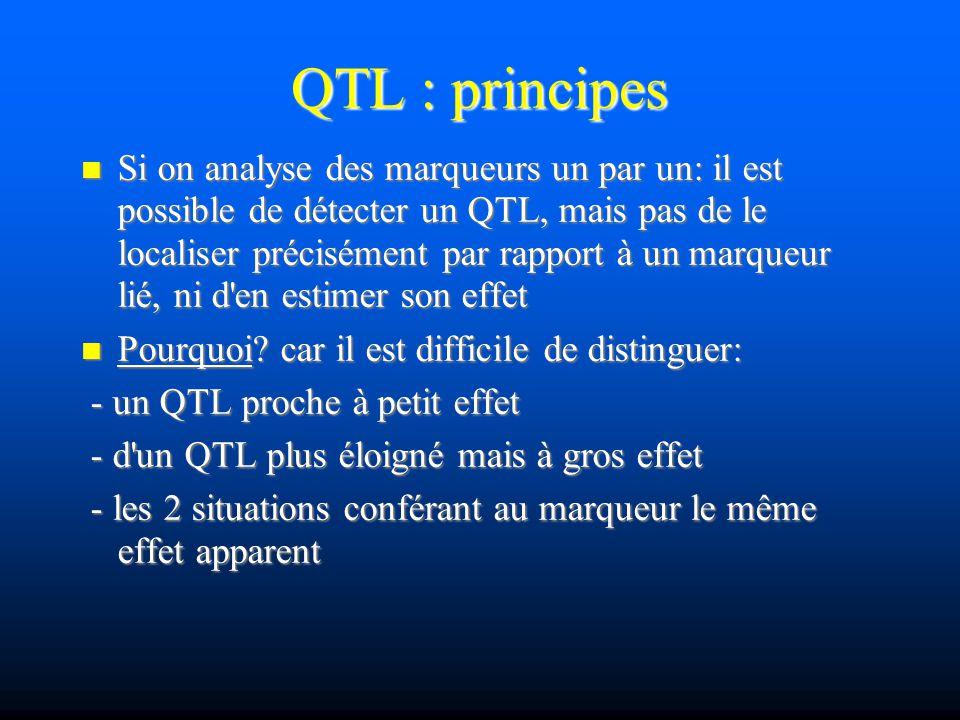QTL : principes Si on analyse des marqueurs un par un: il est possible de détecter un QTL, mais pas de le localiser précisément par rapport à un marqu