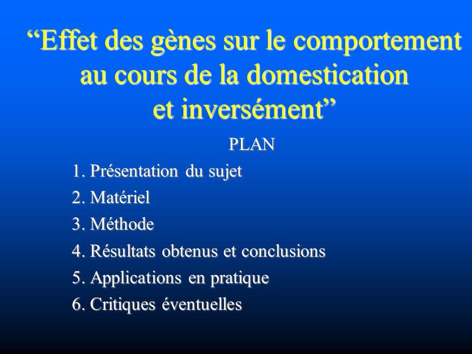 Effet des gènes sur le comportement au cours de la domestication et inversément PLAN 1. Présentation du sujet 2. Matériel 3. Méthode 4. Résultats obte