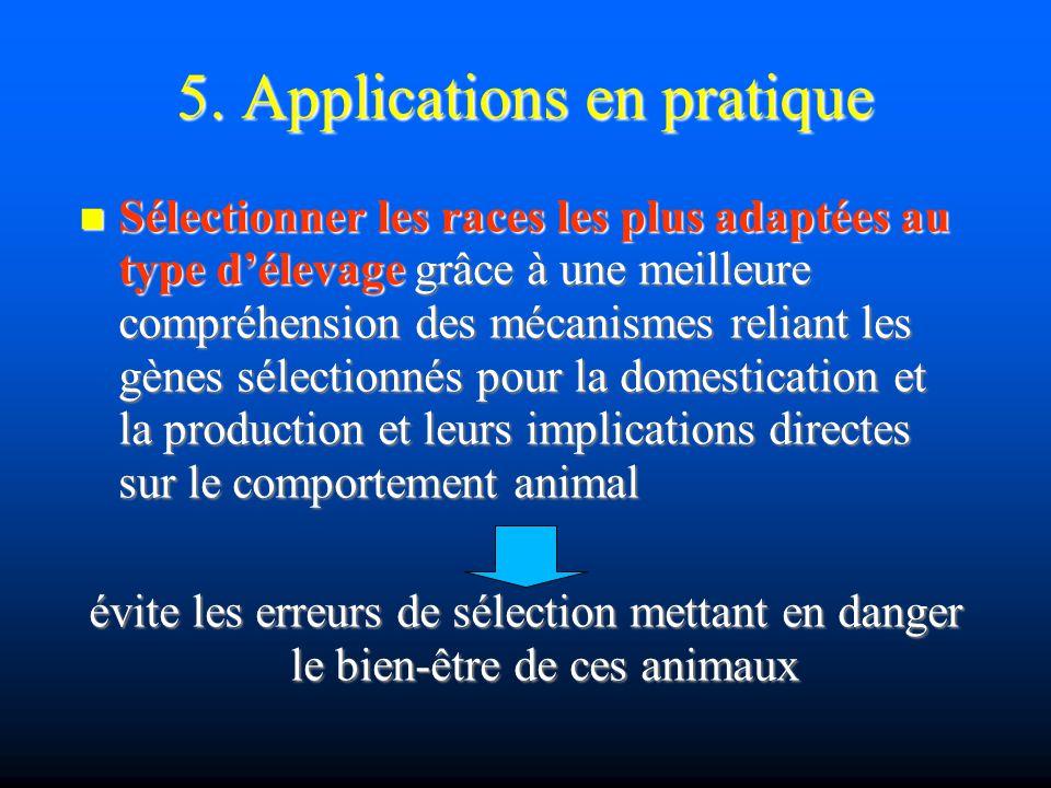 5. Applications en pratique Sélectionner les races les plus adaptées au type délevage grâce à une meilleure compréhension des mécanismes reliant les g