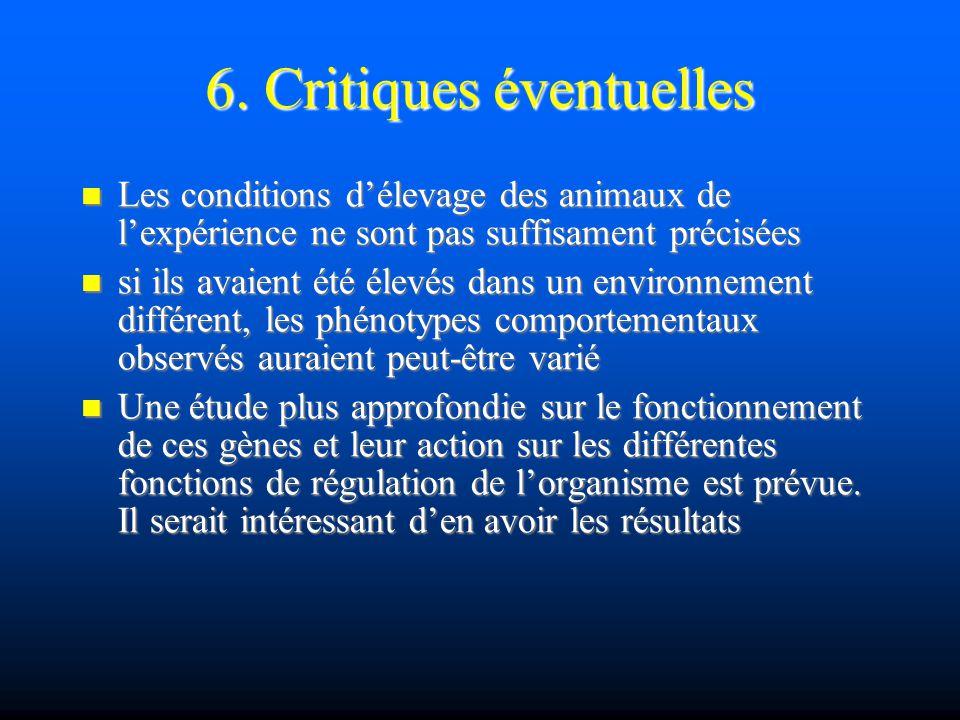 6. Critiques éventuelles Les conditions délevage des animaux de lexpérience ne sont pas suffisament précisées Les conditions délevage des animaux de l