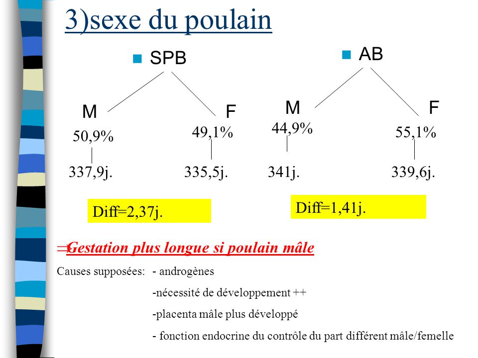 3)sexe du poulain SPB MF AB MF 50,9% 49,1% 337,9j.335,5j. Diff=2,37j. 44,9% 55,1% 341j.339,6j. Diff=1,41j. Gestation plus longue si poulain mâle Cause