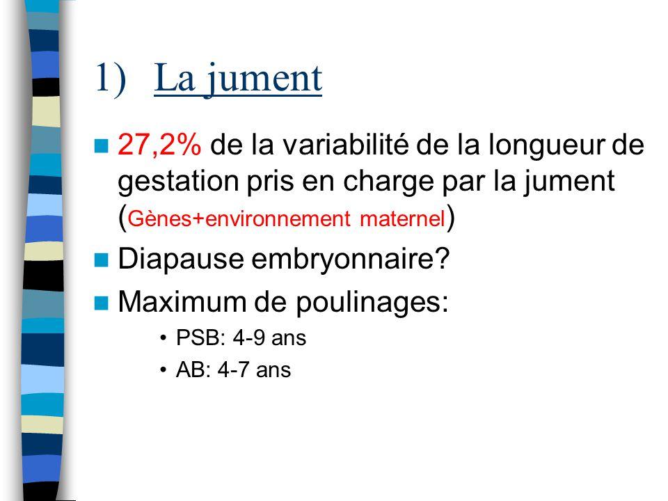 1)La jument 27,2% de la variabilité de la longueur de gestation pris en charge par la jument ( Gènes+environnement maternel ) Diapause embryonnaire? M