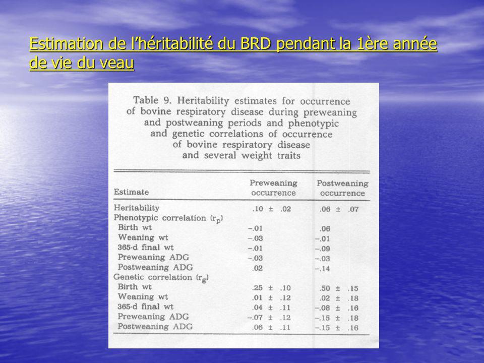 Estimation de lhéritabilité du BRD pendant la 1ère année de vie du veau