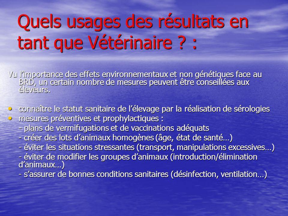 Quels usages des résultats en tant que Vétérinaire ? : Vu limportance des effets environnementaux et non génétiques face au BRD, un certain nombre de