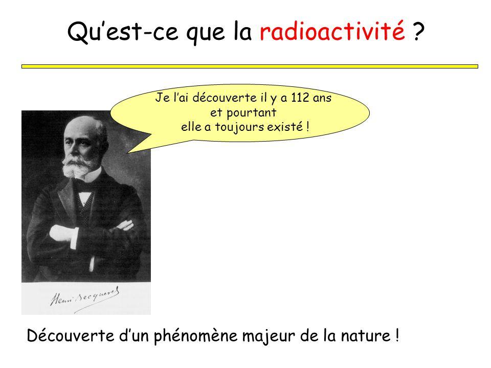 Quest-ce que la radioactivité ? Découverte dun phénomène majeur de la nature ! Je lai découverte il y a 112 ans et pourtant elle a toujours existé !