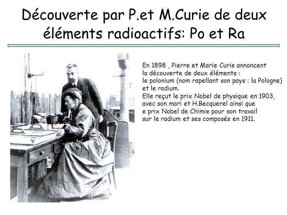 Découverte par P.et M.Curie de deux éléments radioactifs: Po et Ra En 1898, Pierre et Marie Curie annoncent la découverte de deux éléments : le poloni