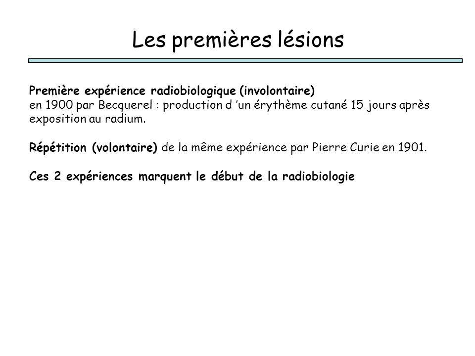 Les premières lésions Première expérience radiobiologique (involontaire) en 1900 par Becquerel : production d un érythème cutané 15 jours après exposi